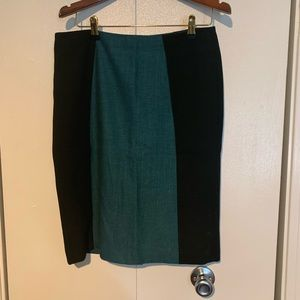 Teal and Black Herringbone Pencil Skirt